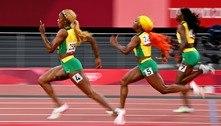 Usain Bolt festeja pódio totalmente jamaicano nos 100 m do atletismo