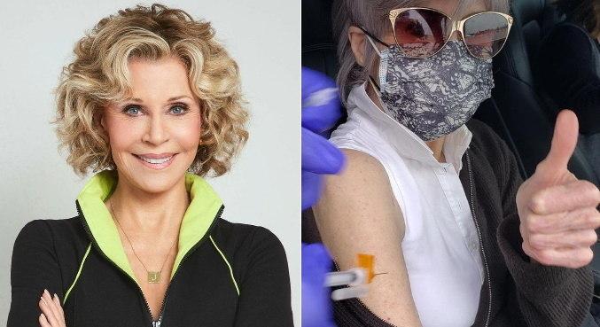 Em seu Instagram, Jane Fonda mostrou momento em que foi vacinada