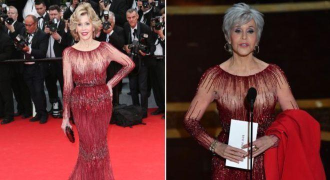 Jane Fonda repetiu vestido usado em 2014