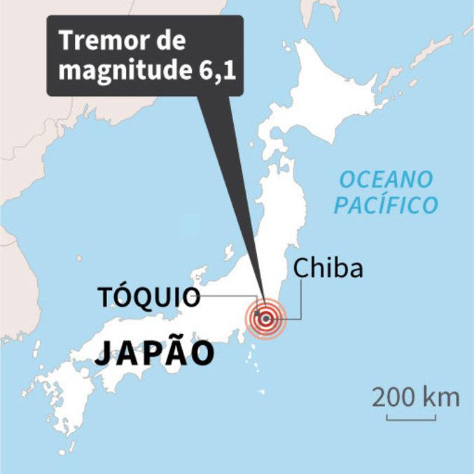 Mapa do Japão localiza o epicentro do terremoto, de magnitude 6,1
