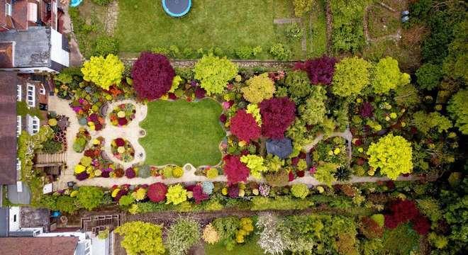 Imagens de drones mostram a riqueza de plantas e flores do jardim