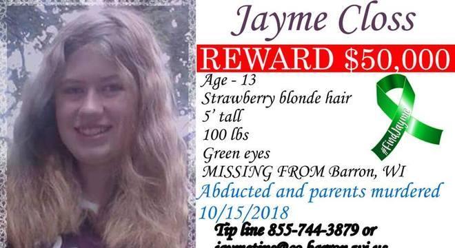 Cartaz do condado de Barron oferecia recompensa por quem achasse adolescente