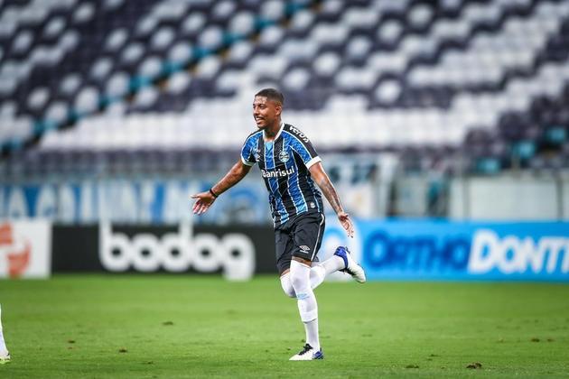Jean Pyerre - Clube: Grêmio - Posição: Atacante - Idade: 21 anos - Jogos completados no Brasileirão 2021: 3 jogos - Situação no clube: Reserva com poucas oportunidades