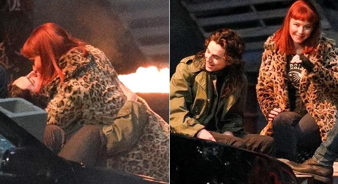 Atores Jennifer Lawrence e Timothee Chalamet se beijam em gravação de filme
