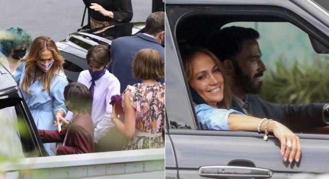 Em família, J.Lo e Ben Affleck levaram os 5 filhos para um passeio especial