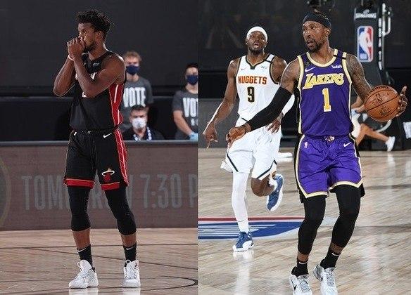 """Jimmy Butler (Heat) x Kentavious Caldwell-Pope (Lakers) -  (Ala-armador)  Butler é o principal nome do time de Miami na temporada e é quem traz mais esperança de título ao torcedor nessas finais. A """"versão Miami Heat"""" do astro é, sem dúvidas, a mais madura de toda a sua carreira, angariando as melhores estatísticas coletivas desde que chegou na NBA, com 6.0 assistências e 6.7 rebotes. A difícil tarefa de marcá-lo tende a ser, na maior parte do tempo, de Caldwell-Pope, jogador que alterna bons e maus momentos na carreira, mas que vem desempenhando o seu papel com o time do Lakers nesses playoffs, contribuindo na maioria das vezes com arremessos de três pontos."""