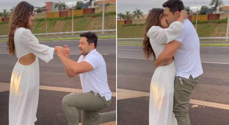 João Bosco se ajoelho em rodovia e fez o pedido de casamento