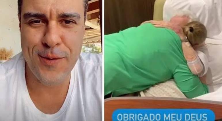 Ator mostrou o reencontro da mãe com o pai após 38 dias de internação
