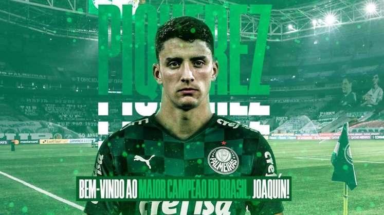Joaquín Piquerez - Clube atual: Palmeiras - Clube anterior: Peñarol - Posição: Lateral-esquerdo - Idade: 22 anos