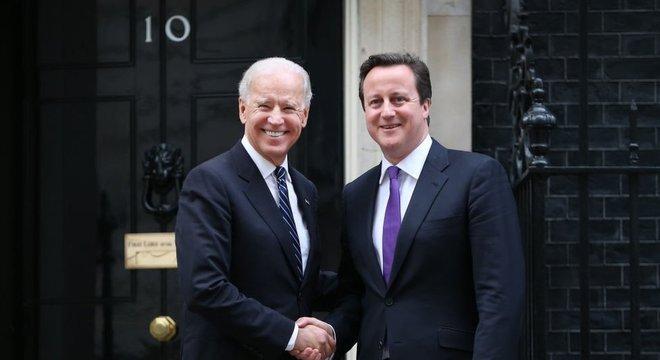 Joe Biden visitou o Reino Unido como vice-presidente em 2013, quando David Cameron era primeiro-ministro