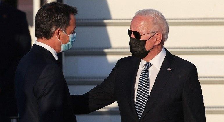 Presidente americano Joe Biden é recebido pelo pelo primeiro-ministro da Bélgica, Alexander de Croo