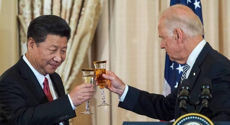 O presidente chinês, Xi Jinping, e o presidente dos EUA, Joe Biden