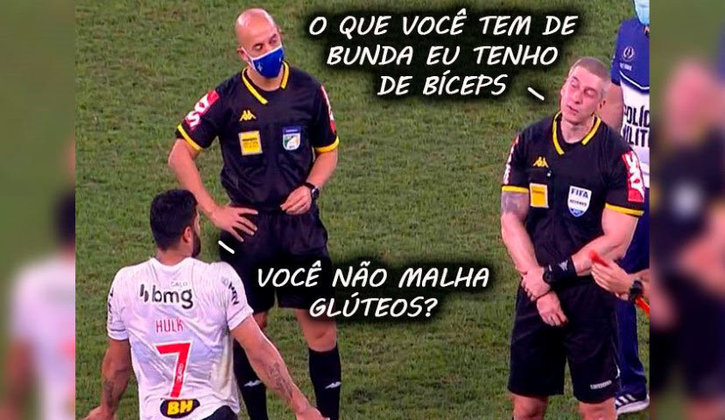 Jogador e árbitro, conhecidos por seus portes físicos avantajados, estavam em campo na vitória do Atlético-MG sobre o Fluminense pela Copa do Brasil. Veja a repercussão do encontro! (Por Humor Esportivo)
