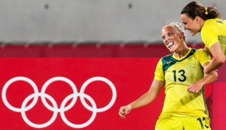 Jogadora da Austrália comemora com fúria a conquista sobre a Nova Zelândia por 2 a 1