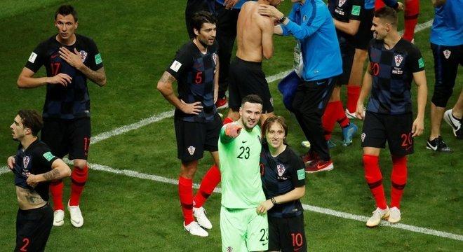 Jogadores croatas celebrando a vitória