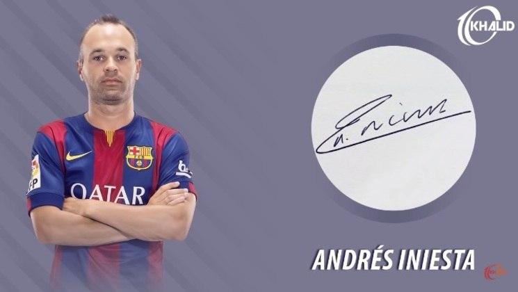 Jogadores e seus respectivos autógrafos: Andrés Iniesta