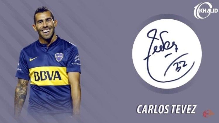 Jogadores e seus respectivos autógrafos: Carlos Tévez