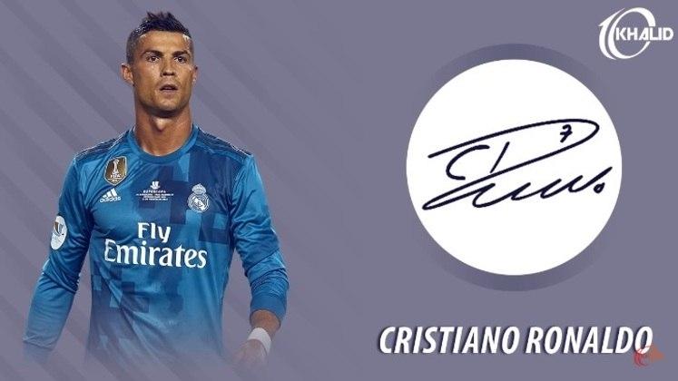 Jogadores e seus respectivos autógrafos: Cristiano Ronaldo