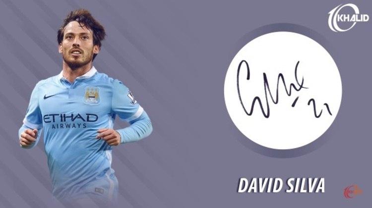 Jogadores e seus respectivos autógrafos: David Silva