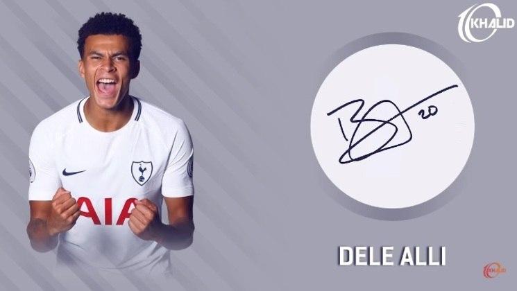 Jogadores e seus respectivos autógrafos: Dele Alli