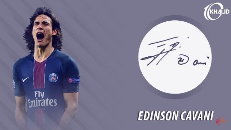 Jogadores e seus respectivos autógrafos: Edinson Cavani