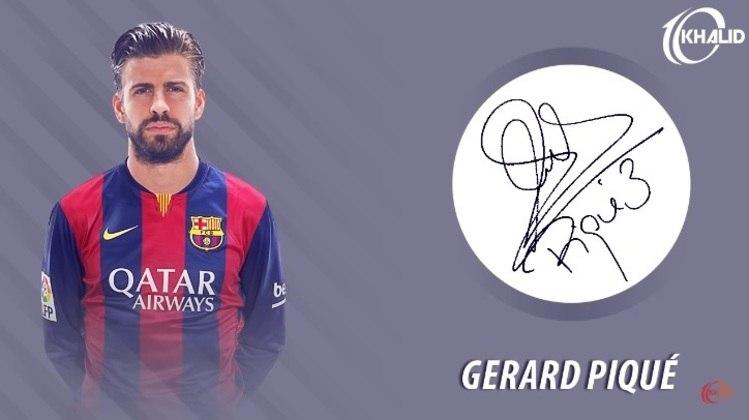 Jogadores e seus respectivos autógrafos: Gerard Piqué