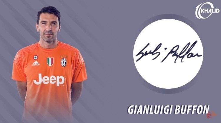 Jogadores e seus respectivos autógrafos: Gianluigi Buffon