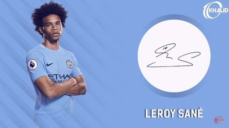 Jogadores e seus respectivos autógrafos: Leroy Sané