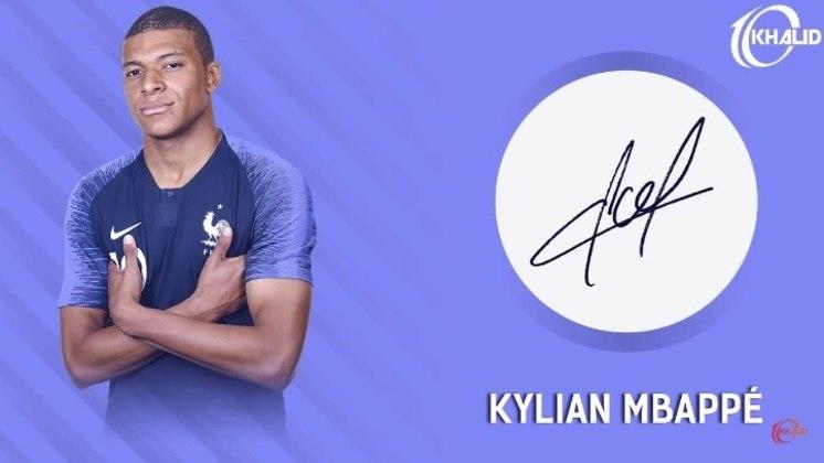 Jogadores e seus respectivos autógrafos: Mbappé