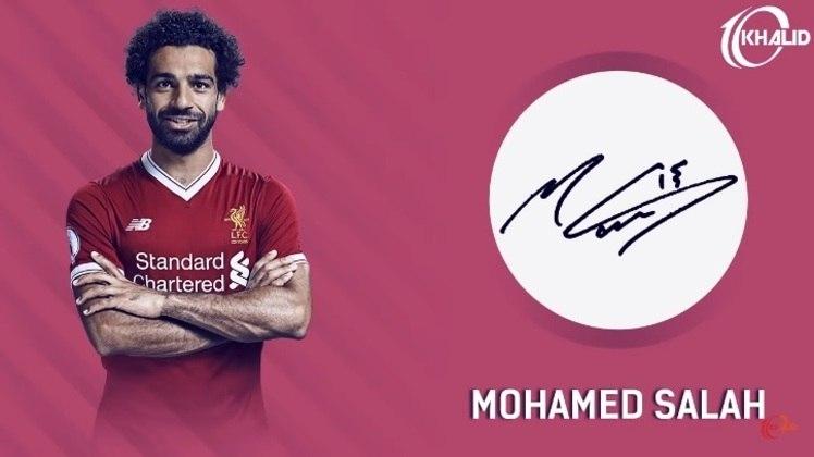 Jogadores e seus respectivos autógrafos: Mohamed Salah