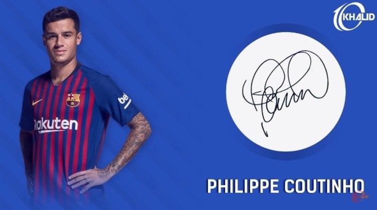 Jogadores e seus respectivos autógrafos: Philippe Coutinho