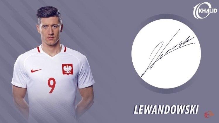 Jogadores e seus respectivos autógrafos: Robert Lewandowski