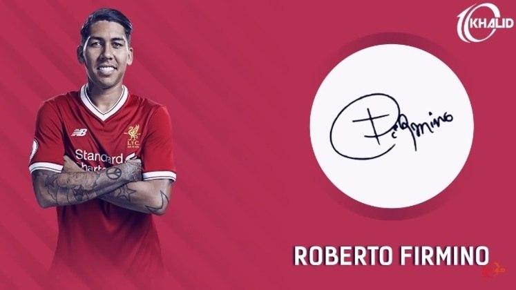 Jogadores e seus respectivos autógrafos: Roberto Firmino