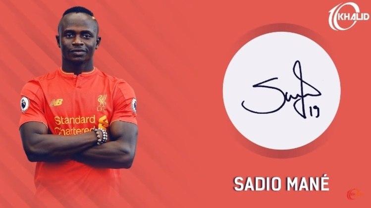 Jogadores e seus respectivos autógrafos: Sadio Mané