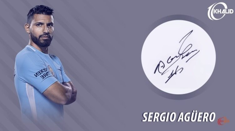 Jogadores e seus respectivos autógrafos: Sergio Agüero