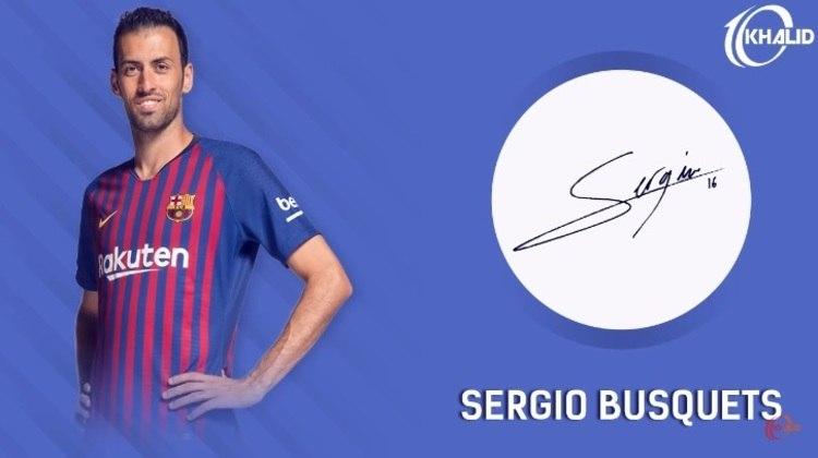 Jogadores e seus respectivos autógrafos: Sergio Busquets