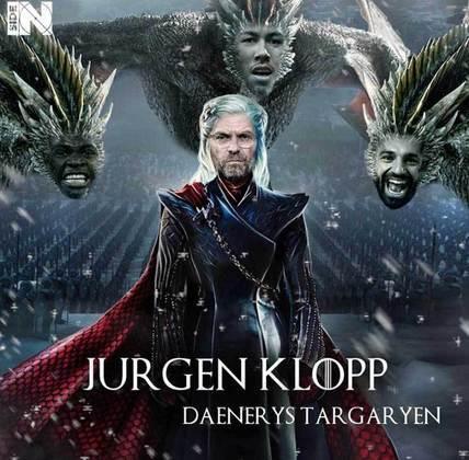 Jogadores e técnicos viram personagens de GoT: Jurgen Klopp, Mané, Firmino e Salah