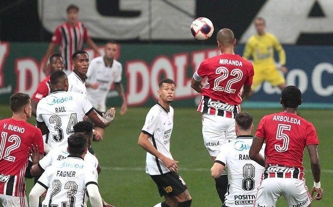 Jogo 11: Corinthians 2 x 2 São Paulo (Neo Química Arena - 02/05/2021) - Gols do São Paulo: Miranda (1 x 0) e Luciano (2 x 2)