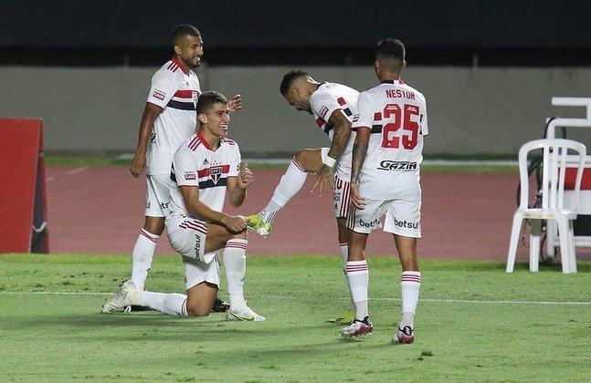 Jogo 9: São Paulo 2 x 0 Santo André (Morumbi - 23/04/2021) - Gols do São Paulo: Joao Rojas (1 x 0) e Vitor Bueno (2 x 0)