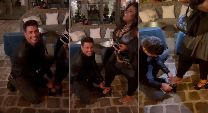 Cauã Reymond ajudou Jojo a colocar os sapatos em Paris