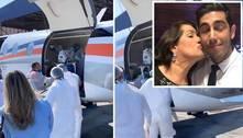 Mãe de Jonathan Nemer chega a São Paulo em UTI aérea; vídeo