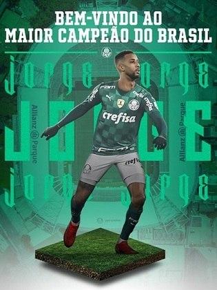 Jorge - Clube atual: Palmeiras - Clube anterior: Mônaco - Posição: Lateral-esquerdo - Idade: 25 anos