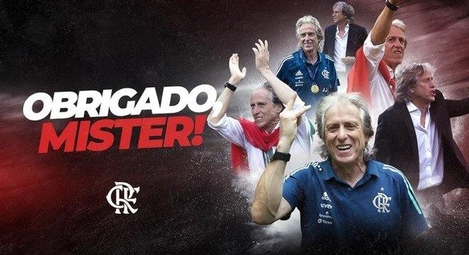 Agradecimento oficial do Flamengo a Jesus, nas redes sociais
