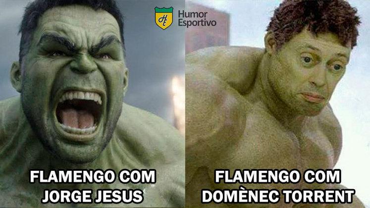 Jorge Jesus foi lembrado após Domènec Torrent estrear com derrota no comando do Flamengo. Segunda vitória de Jorge Sampaoli sobre o time carioca também foi exaltada. Veja os memes na galeria!