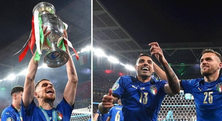 Jorginho, Emerson e Tolói comemoram título da Itália