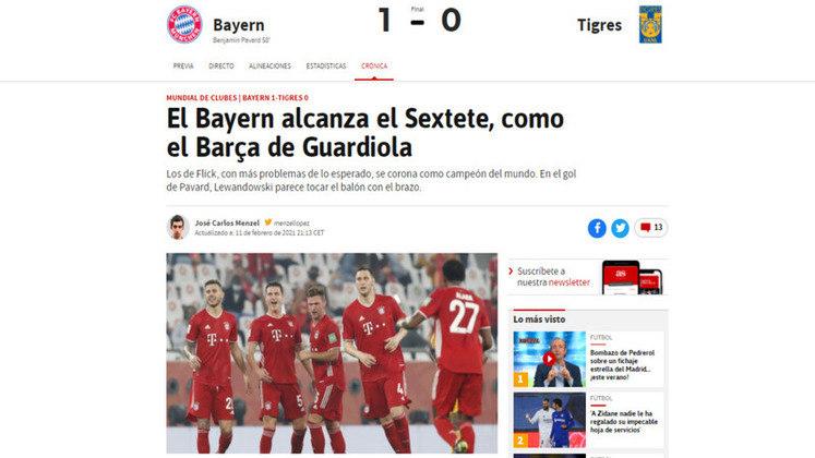 Jornal AS - O jornal espanhol AS exaltou o sexteto do Bayern, comparando com as conquistas de Pep Guardiola, no Barcelona.