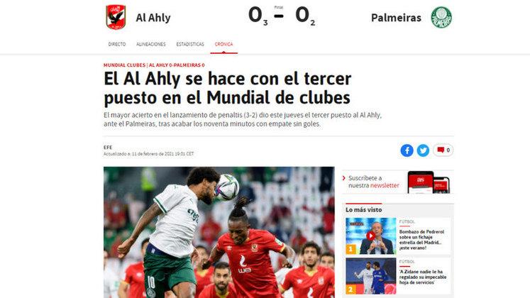 Jornal AS -Um dos principais jornais da Espanha destacou a conquista do time egípicio.