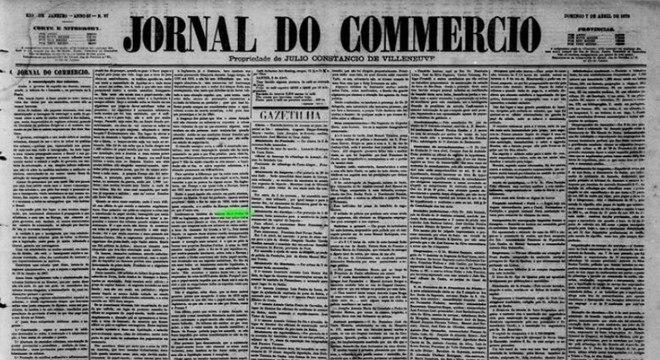 Jornal do Commercio citou em edição de 1878 o tilt que parou o Reino Unido