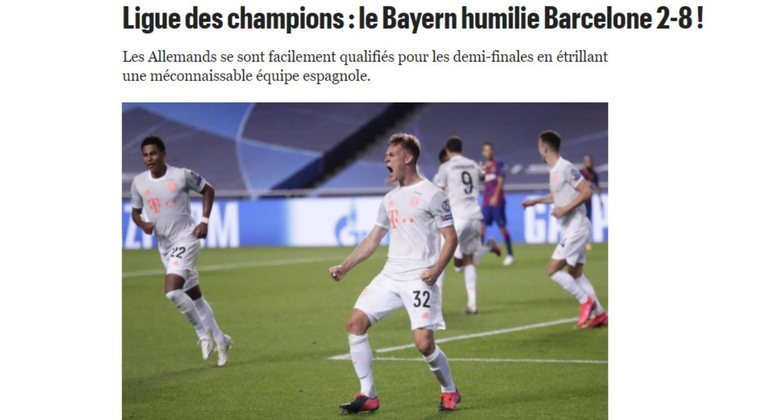 Jornal francês 'Le Parisien': Bayern humilha barcelona: 8 a 2
