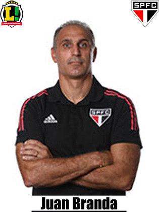 Juan Branda - 5,5 - Substituindo o técnico Crespo, que está com Covid, Branda não conseguiu fazer o time conquistar sua primeira vitória no Brasileirão. As alterações deixaram o time mais ofensivo, mas o Tricolor sofreu na parte defensiva e viu Volpi garantir o empate.